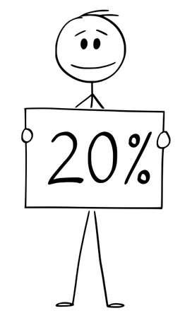 Vector cartoon stick figure drawing conceptual illustration of man or businessman holding 20 or twenty percent sign. Иллюстрация