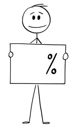 Vector cartoon stick figure drawing conceptual illustration of man or businessman holding empty percent sign, ready to add your number.