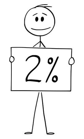Vector cartoon stick figure drawing conceptual illustration of man or businessman holding 2 or two percent sign. Иллюстрация