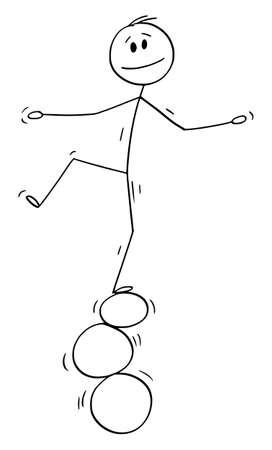 Vector cartoon stick figure drawing conceptual illustration of man or businessman balancing on three rings, balls or stones.