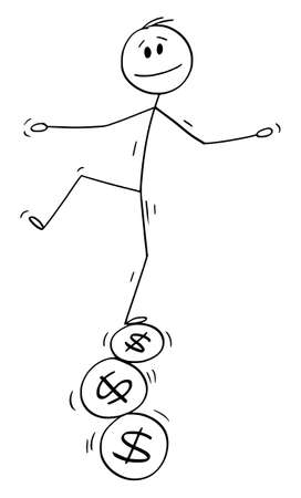 Vector cartoon stick figure drawing conceptual illustration of man or businessman balancing on three dollar sign or symbol coins, financial budget concept, expenses, profit and income.