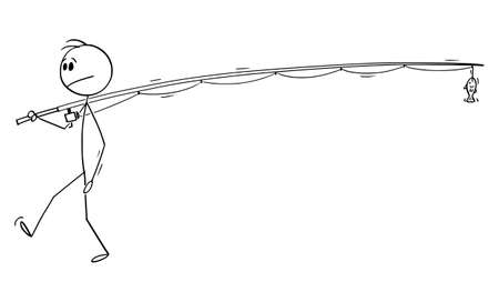Vector cartoon stick figure drawing conceptual illustration of man or fisherman holding or carrying long or big fishing rod with small fish.