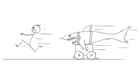 Vector cartoon stick figure drawing conceptual illustration of man running in fear or panic from dangerous shark riding on land on cart. Фото со стока - 155943421