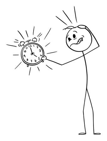 Vector cartoon stick figure drawing conceptual illustration of unhappy frustrated man or businessman holding ringing alarm clock. Concept of wake up, deadline or time management. Фото со стока - 155943356