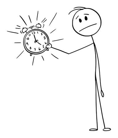 Vector cartoon stick figure drawing conceptual illustration of unhappy frustrated man or businessman holding ringing alarm clock. Concept of wake up, deadline or time management. Фото со стока - 155942742