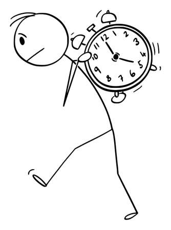 Vector cartoon stick figure drawing conceptual illustration of man man carrying heavy alarm clock on his back. Concept of time management and wake up. Иллюстрация