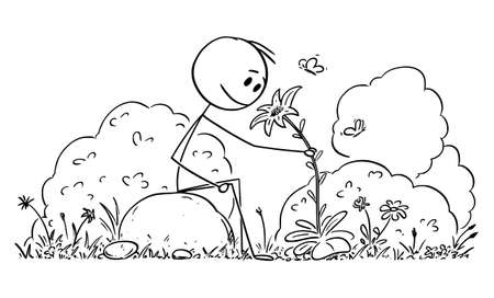 Vector cartoon stick figure drawing conceptual illustration of man sitting in peaceful nature surrounded by flowers, trees and butterflies. Lifestyle and outdoor concept.