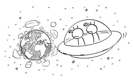 Vector cartoon stick figure drawing conceptual illustration of two funny aliens in UFO or flying saucer watching planet Earth from space, nuclear war explosion on the surface, destruction of mankind. Ilustração