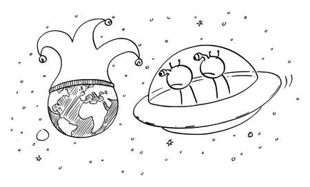 Vector cartoon stick figure drawing conceptual illustration of two funny aliens in UFO or flying saucer watching planet Earth from space. human or mankind madness or foolishness. Comic strip.