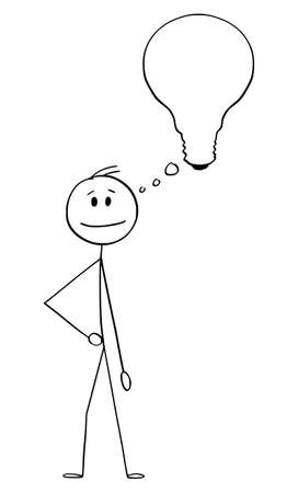 Vector cartoon stick figure drawing conceptual illustration of man, businessman or innovator with thinking bubble or balloon in shape of light bulb.He got idea, looking for solution or innovation.
