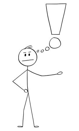 Vector cartoon stick figure drawing conceptual illustration of angry frustrated man or businessman with thinking bubble or balloon in shape of exclamation mark or symbol.