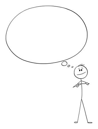 Vector cartoon stick figure drawing conceptual illustration of smiling confident man or businessman thinking about something with huge or big empty thought bubble or balloon.