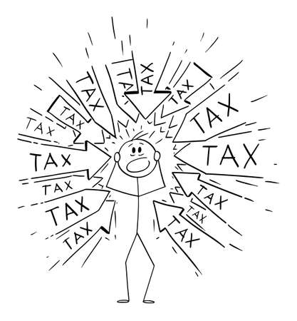 Vector cartoon stick figure drawing conceptual illustration of stressed man or businessman with many arrows pointing at him requesting to pay tax or taxes. Financial concept.