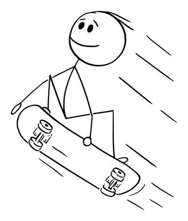 Vector cartoon stick figure drawing conceptual illustration of man, boy, skater or skateboarder jumping or doing trick or skateboarding on skateboard. Фото со стока - 156197032