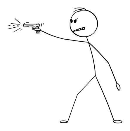 Vector cartoon stick figure drawing conceptual illustration of dangerous angry man shooting a weapon, gun handgun or pistol.