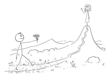 Vector cartoon stick figure drawing conceptual illustration of man in love walking with flower to meet his woman or girl waiting on the mountain or hill. Valentine, date and romance. Ilustração