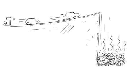 Vector cartoon drawing conceptual illustration of cars moving fast following the road sign but falling down off cliff. Concept of dead end technology, ecology, planning, strategy or obstacles in way. Фото со стока - 156196244
