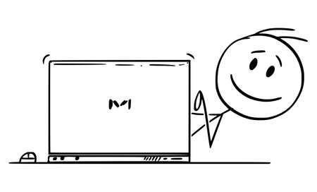 Vector cartoon stick figure drawing conceptual illustration of smiling happy man, office worker or businessman typing on computer and looking from behind laptop. Ilustração