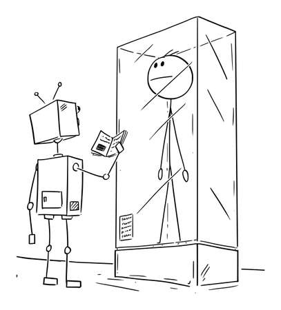 Vector cartoon stick figure drawing conceptual illustration of extinct man or male human being exhibited in museum exposition. Robot visitor is watching him.