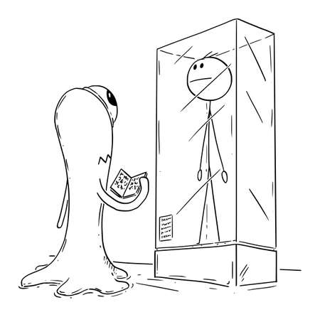 Vector cartoon stick figure drawing conceptual illustration of extinct man or male human being exhibited in museum exposition. Extraterrestrial space alien visitor is watching him. Ilustração
