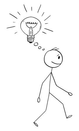 Vector cartoon stick figure drawing conceptual illustration of man or businessman walking with idea or innovation represented as shining light bulb. Ilustração