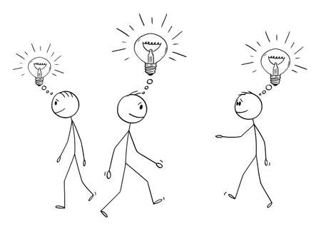 Vector cartoon stick figure drawing conceptual illustration of group or crowd of men or businessmen walking with idea, innovation or solution represented as shining light bulb.