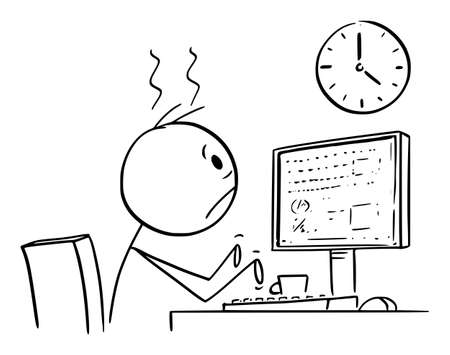 Vector cartoon stick figure drawing conceptual illustration of tired or frustrated office worker, man or businessman working on computer long overtime and watching wall clock.