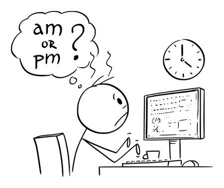 Vector cartoon stick figure drawing conceptual illustration of tired or frustrated office worker, man or businessman working on computer long overtime and watching wall clock. He is thinking if it's am or pm, day or night. Ilustração