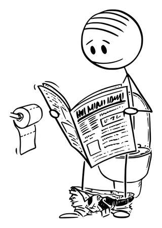 Vector cartoon stick figure drawing conceptual illustration of man sitting on toilet bowl in restroom, lavatory or bathroom and reading newspapers.