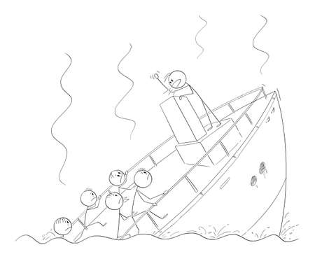 Vector cartoon stick figure illustration of man, politician, leader or businessman talking or having speech standing behind lectern during ship sinking ignoring the crisis and reality.
