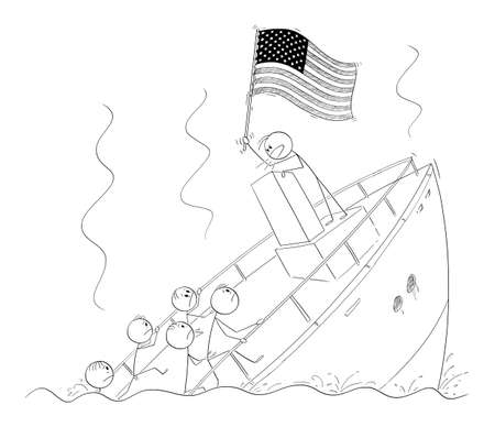 Vector cartoon stick figure illustration of politician or leader holding US flag and talking or having speech, standing behind lectern during ship sinking ignoring the crisis and reality. Ilustração