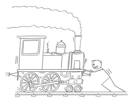 Vector cartoon stick figure illustration of man pushing steam railroad train engine or locomotive.