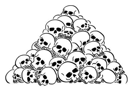 Vector cartoon illustration of heap or pile of human skulls. Concept of violence, epidemic, war or death.