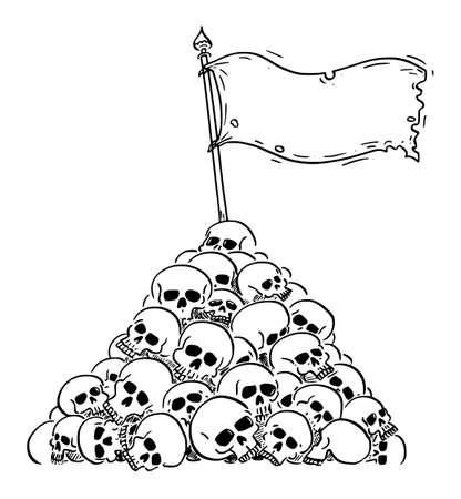 Vector cartoon illustration of surrender or victory flag waving on heap or pile of human skulls. Concept of violence, victory, defeat, epidemic, war or death. Ilustração