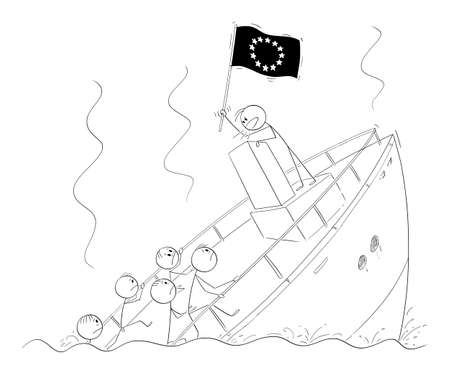 Vector cartoon stick figure illustration of politician or leader holding EU or European Union flag and talking or having speech, standing behind lectern during ship sinking ignoring the crisis and reality. Ilustração