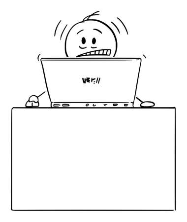 Vector cartoon stick figure illustration of frustrated or stressed man or businessman working on typing on computer behind desk in home office. Ilustração