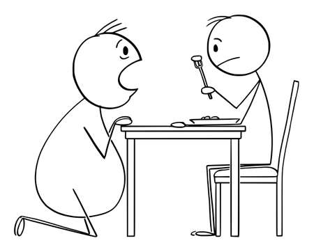 Vector cartoon stick figure illustration of hungry fat man scrounging food from thin man eating his lunch.