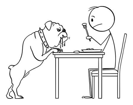 Vector cartoon stick figure illustration of man eating his lunch and salivating bulldog dog is watching him and scrounging for food.
