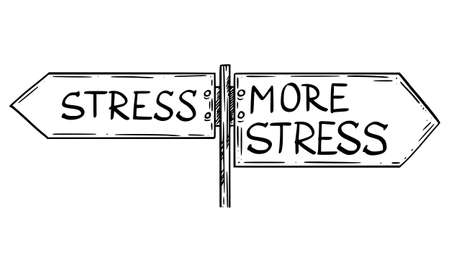 Vector cartoon illustration of stress or more stress to choose from. Traffic road sign with left and right pointing directional arrow signs. Ilustração