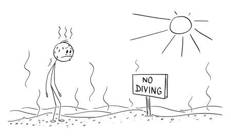 Vector cartoon stick figure illustration of thirsty exhausted man standing in hot desert and watching no diving sign. Global warming environmental concept. Cartoon, humor, joke.