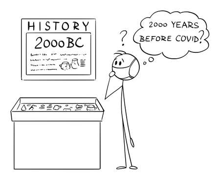 Vector cartoon stick figure illustration of man wearing protective face mask watching museum exposition and thinking if BC mean before covid.Concept of covid-19 or coronavirus. 向量圖像