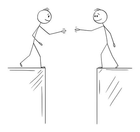 Vector cartoon stick figure illustration of two men or businessmen or Politicians going to shake hands when divided by chasm or gulf. Concept of agreement, deal or cooperation. 向量圖像