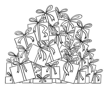 Cartoon vector black and white illustration or drawing of big pile of christmas presents or gifts.
