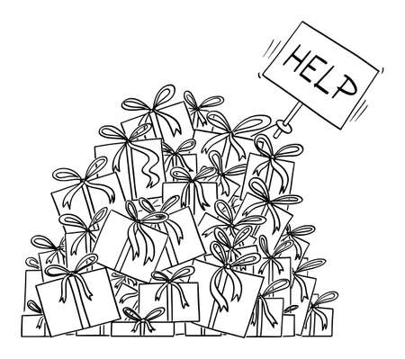 Cartoon vector black and white illustration or drawing of big pile of christmas presents or gifts. Hand is sticking out with help sign.