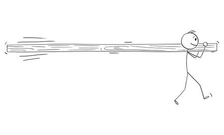 Vector cartoon stick figure illustration of one single individual man holding and carrying on his back long beam or log alone.