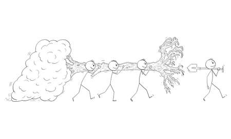 Vector cartoon stick figure illustration of group of men carrying and moving full-grown tree to plant or replant it.Concept of nature, ecology,ecosystem or climate change.