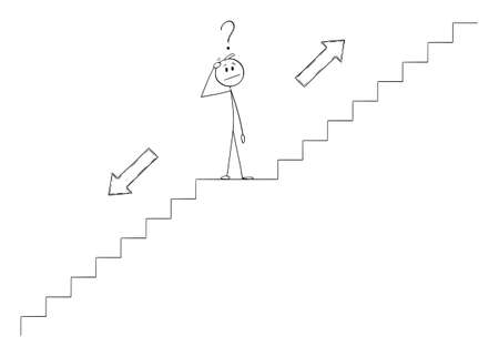 Vector cartoon stick figure illustration of man or businessman thinking on stairs or staircase or stairway and thinking about future direction, choosing to go up or down.