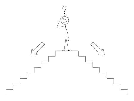 Vector cartoon stick figure illustration of man or businessman thinking on top of stairs or staircase or stairway and thinking about future direction, choosing way down.