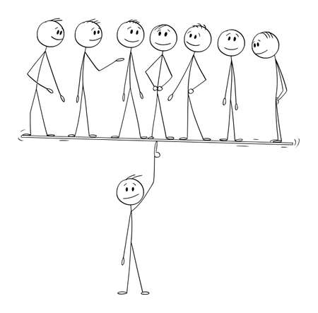 Vector cartoon stick figure illustration of man, manager or leader easily balancing his team on finger. Concept of leadership, teamwork and management.