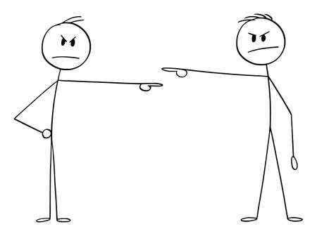 Vector cartoon stick figure illustration of two men or businessmen, Each pointing and blaming each other. Concept of responsibility. 矢量图像
